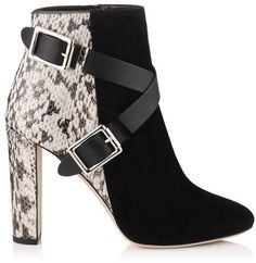 DEE 100 Black Suede, Natural Gloss Elaphe, and Black Vachetta Leather Ankle Boots