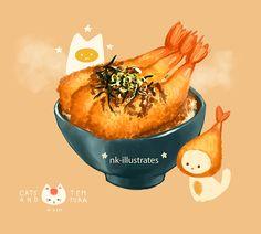 Doodle, Doodle, Doodle — Katsu and Tempura. My favorites. Cute Food Drawings, Cute Animal Drawings, Kawaii Drawings, Art Et Illustration, Food Illustrations, Kawaii Art, Kawaii Anime, Cute Food Art, Chibi Food