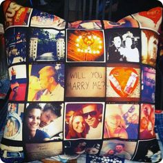 Stitchagram: Create your own pillow using your Instagram photos! (Drag and drop your photos onto the pillow template.) Currently there is a coupon on fab.com. #Pillow #Stitchagram #Instagram