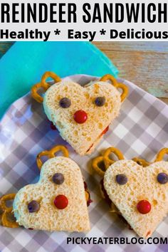 These super cute and healthy Holiday Reindeer Sandwiches are filled with peanut butter and fresh fruit. Sprouted wheat bread is cut into a heart shape to make a reindeer face, with pretzels for antlers, and chocolate chips for the eyes and naturally colored chocolate candies for the nose. Healthy Holiday Recipes, Healthy Meals For One, Healthy Eating For Kids, Healthy Eating Recipes, Quick Easy Meals, Baby Food Recipes, Easy Recipes, Vegetarian Sandwich Recipes, Vegetarian Snacks
