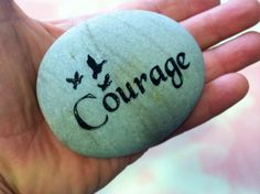 4 Inch Engraved Etched Courage Sign Stone Rock for Flower Garden Marker by Studio569 on Etsy