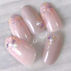 Nails Pink Gold Glitter Manicures New Ideas Glitter Manicure, Pedicure Nail Art, Sparkle Nails, Bling Nails, Pink Glitter, Pretty Nail Designs, Nail Art Designs, Bridal Nails Designs, Asian Nails