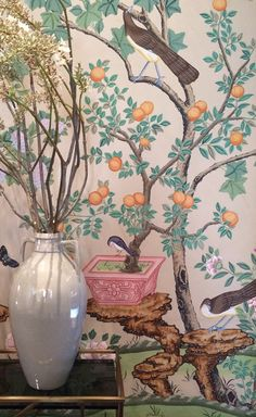 hand-painted chinoiserie wallpaper // dining room // San Francisco Decorator Showcase 2014
