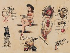 traditional tattoo Artwork from Vintage Flash Tattoo Antique Tattoo, Vintage Tattoo Art, Vintage Tattoo Design, Flash Art Tattoos, Traditional Tattoo Artwork, Traditional Tattoo Design, Wall Street, Sailor Jerry Tattoo Flash, Sailor Tattoos