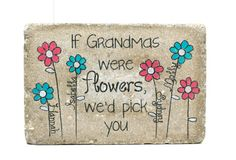 Grandmas Garden Stone with NAMES. 6x9 Personalized GRANDMA'S GARDEN.  Rustic tumbled Concrete. 6x9 Outdoor Decor, Personalized Name Stone on Etsy, $22.00