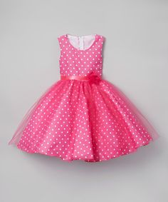 Look what I found on #zulily! Fuchsia Polka Dot A-Line Dress - Infant, Toddler & Girls #zulilyfinds