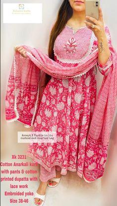 Cotton Anarkali, Anarkali Kurti, Pakistani Salwar Kameez, Salwar Suits, India Pattern, Kurtis With Pants, Kurta Palazzo, Indian Ethnic, Designing Women