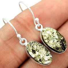 Pyrite Druzy 925 Sterling Silver Earrings Jewelry PYDE17 - JJDesignerJewelry