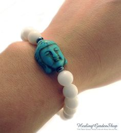 Reiki Infused Stress Relief  Howlite Buddha by HealingGardenShop.  Howlite helps to absorb anger while the Jade helps with stress relief.