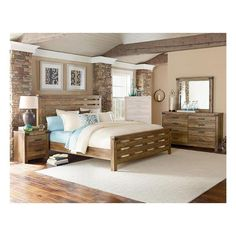 montana king 4 piece bedroom set in buckskin pine nebraska furniture mart
