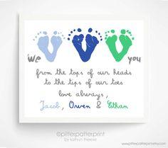 Grandmother Gift Idea - Sibling Wall Art - Handprint Art ...