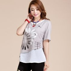 Attractive Lotus Paint Mandarin Style Blouse - Gray - Chinese Shirts & Blouses - Women