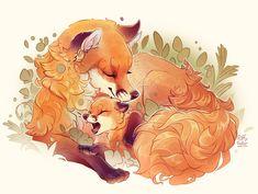 Memories of Spring by PuffyGator on DeviantArt Fox Fantasy, Fantasy Art, Anime Animals, Cute Animals, Wild Animals, Cute Animal Illustration, Animal Illustrations, Pet Fox, Desenho Tattoo