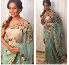 Indian/Pakistani Bollywood Designer Bridal Bipasha Basu Teal Blue Net Saree Sari