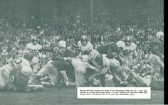 Oregon RB George Bell carries the ball vs. Washington State 1948. From the 1949 Oregana (University of Oregon yearbook). www.CampusAttic.com