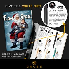 Pinterest Pin - Looking for the write holiday gift? Esquire suggests the Cross #Townsend @StarWars Darth Vader pen.