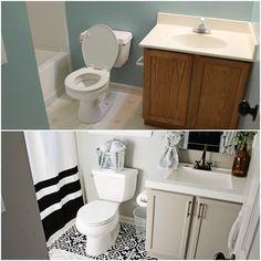 red Bathroom Decor Elizabeth Burns Design - Budget Bathroom Makeover Magnetic Gray Floorpops Peel and Stick Tile Before and Afters Bathroom Renos, Bathroom Renovations, Home Renovation, Small Bathroom, Master Bathroom, Stick On Tiles Bathroom, Modern Bathroom, Small House Renovation, Navy Bathroom