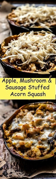 Recipe for an incredible and healthy mushroom, apple and sausage stuffed acorn squash. Perfect for dinner and lunch. The whole family will love this budget friendly recipe