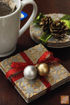 DIY Gift Ideas: Make a coaster set from cork and decorative aluminum sheets. Click through for step-by-step instructions.