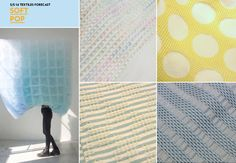 Fabric Texture: Waffle Knits..Voluminous honeycomb structures inspire lightweight placement waffle weaves in muted brights and faded pastel tones including cool blue, peppermint and custard yellow. -WGSN-