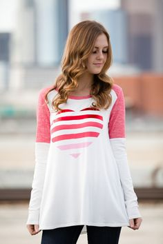 Ivory and Coral Top with Foil Heart on Front 95% Rayon and 5% Spandex Perfect for Valentine's Day! S 0-4 M 6-8 L 10-12