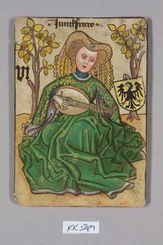 """Jungfrau [Virgo] Deutschland [Germany], """"Hofämterspiel"""" for King Ladislas """"Posthumus"""", c. 1455"""