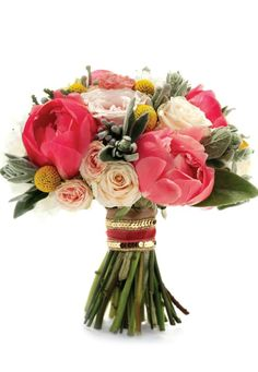 Bouquet ofCoral Charm Peonies, Crespedia, Silver Brunia, Stachys & RosesbyEmma Lappin FlowersforWedding Flowers Magazine