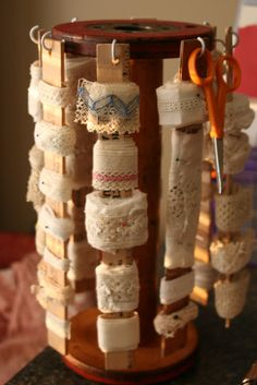 Mamie Jane's - could also be idea for ribbon storage - using old rulers or paint stir sticks...