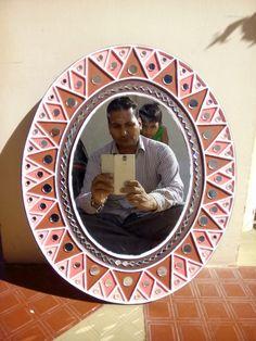 Mirror Painting, Mirror Art, Mirrors, Pottery Painting Designs, Paint Designs, Clay Wall Art, Clay Art, Mandala Design, Mandala Art