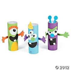 Monster Treat Holder Craft Kit, Novelty Crafts, Crafts for Kids, Craft Hobby Supplies - Oriental Trading Projects For Kids, Diy For Kids, Craft Projects, Crafts For Kids, Toilet Roll Craft, Toilet Paper Roll Crafts, Monster Birthday Parties, Monster Party, Monster Treats