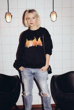 Light my fire sweatshirt and boyfriend jeans