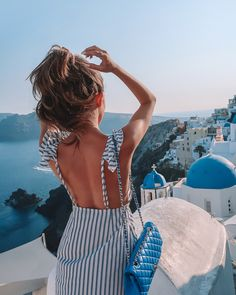 Southern Curls & Pearls: Travel Guide: Santorini, Greece Good morning everyone! I'm back today with another travel guide from our honeymoon, this time to SANTORINI, Greece! When you picture Greec. Cruise Outfits, Vacation Outfits, Mode Outfits, Summer Outfits, Greece Outfit, Outfits For Greece, Southern Curls And Pearls, Greece Vacation, Greece Travel