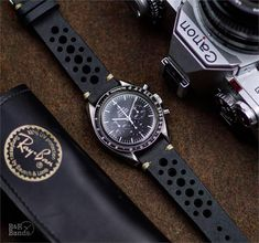 BandRBands Vintage Racing Watch Strap Band made from black Italian leather on an Omega Speedmaster moonwatch 20mm