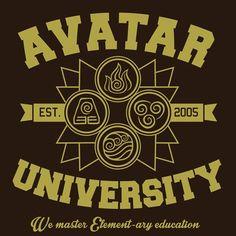 Avatar University T-Shirt $12.99 Last Airbender tee at Pop Up Tee!