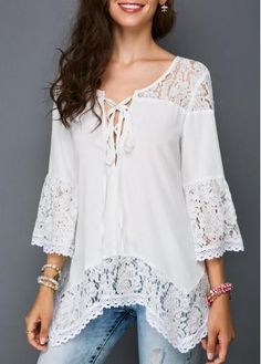 Fashion Sexy Women Loose Lace Blouse VNeck sleeves T Shirts Tops for Daily leisure >>> More info could be found at the image url. (This is an affiliate link) Trendy Tops For Women, Blouses For Women, Modest Fashion, Fashion Dresses, Lace Tops, Lace Blouses, Elegant Outfit, Street Style Women, Blouse Designs