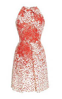 Printed Silk-Shantung Pleat-Front Dress by Giambattista Valli Now Available on Moda Operandi