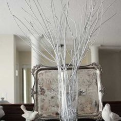 branches spray painted cheap decor