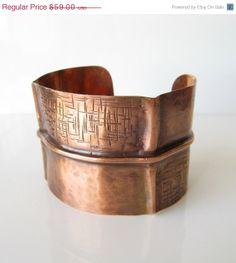 Foldformed copper cuff bracelet forged antiqued on Etsy