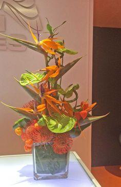 63 OD Bird Of Paradise, Green Anthurium, Orange Pin, Orange Chinese Lantern