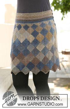 """Strikket DROPS nederdel med Dominoruder i """"Delight"""". Str S - XXL. ~ DROPS Design"""
