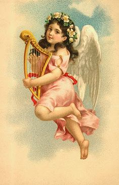 ■ Scrap ~ Works...      cards scrapbooking and art: vintage angel & fairies (25) - angel wearing peach and holing small harp (?)
