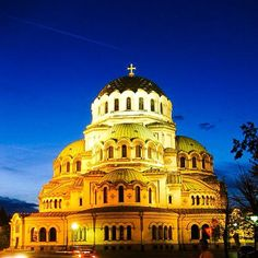 Capturing the cathedral at dusk. Sofia, Bulgaria.
