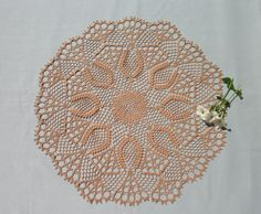 Big lace doily 21,5 inches Crochet round doily Brown lace doily Big crochet doily Round lace doily Crochet table topper Pineapple doily - pinned by pin4etsy.com