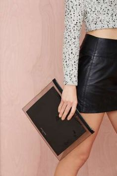 Death In Paris Vasistas Noir Leather Clutch