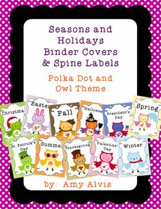 Seasons and Holidays Binder Covers and Spine Labels