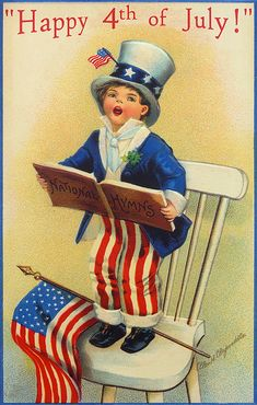 Happy 4th of July! ~ vintage postcard board with art by Ellen H. Clapsaddle | from Moonlight & Roses via Christmas Traditions shop