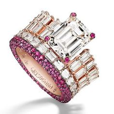 You too can be a queen with this spectacular and surreally beautiful ring, boasting baguette and emerald-cut diamonds, as well as rubies enhanced with blackened pink gold Green Diamond, Emerald Cut Diamonds, Diamond Cuts, High Jewelry, Cute Jewelry, Jewelry Rings, Diamond Rings, Diamond Jewelry, Pink Bling