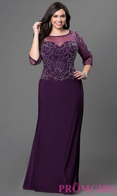 Plus size floor length formal dress with jewel embellished bodice and three quarter length sleeves.  Style: DQ-9190b
