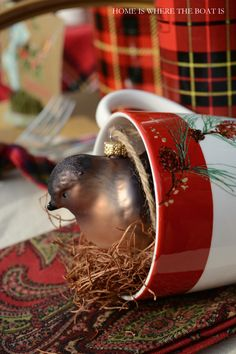 Bird ornament nesting in a mug and Christmas advent fun | Home is Where the Boat Is