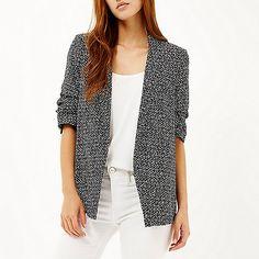 Black print ruched sleeve blazer - blazers - coats / jackets - women